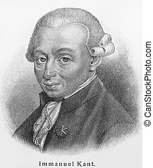 Immanuel Kant old engraving - Vintage 19th century old...