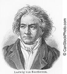 Ludwig van Beethoven old engraving - Vintage 19th century...
