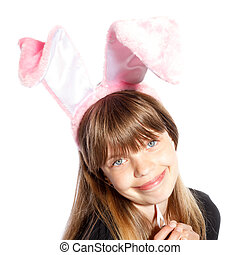 smiling girl with bunny ears