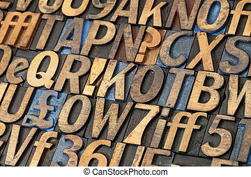 vintage lettepress wood type - alphabet abstract - vintage...
