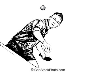 ping pong player - illustration of ping pong player