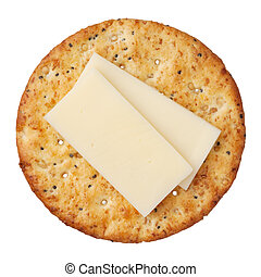 Whole wheat cracker and cheese, isolated on white...