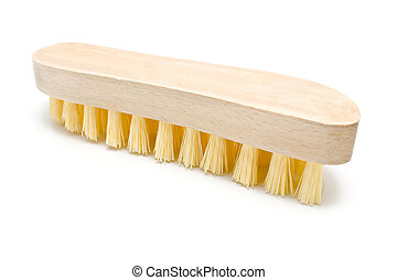 Wooden scrub brush with yellow bristles isolated on white
