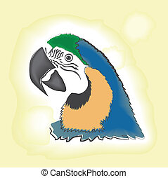Macaw head watercolor illustration