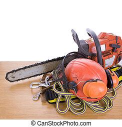 tree surgeon tools on desk - tree surgeon tools including...
