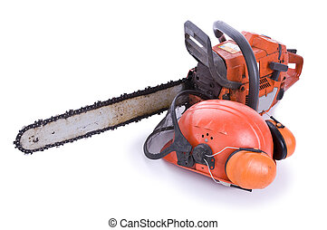 tree surgeon tools on white, chainsaw, helmet with shield...