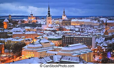 Winter night scenery of Tallinn