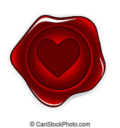 wax seal heart vector illustration