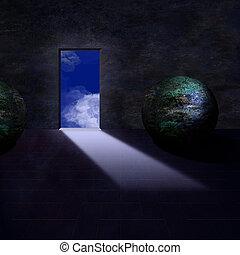 Finely painted room, door opens to sky