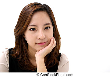 Friendly Smile - a young attractive business woman with a...