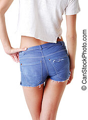 Fit woman in jeans shorts isolated on white