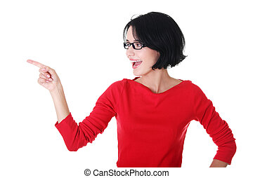 Excited young woman pointing on copy space - Happy , excited...