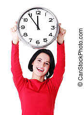 Happy young woman holding office clock, isolated on white...