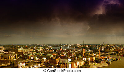 Stockholm, Sweden. Aerial view of the Old Town (Gamla Stan)....