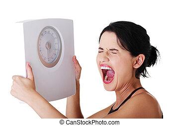 frustrado, mujer, escala