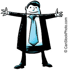 Businessman Arms Wide - A cartoon businessman stands with...