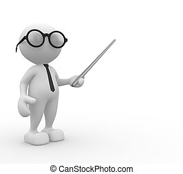 Businessman - 3d people - man, person with pointer on white...