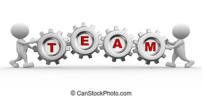 Wheel - 3d people - men, person with gear mechanism and word...