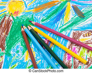 colored pencils on children draw picture background -...