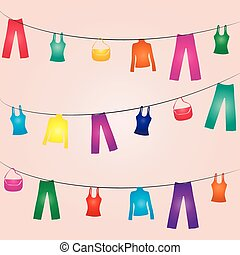 Clothes line - This image is a vector illustration and can...