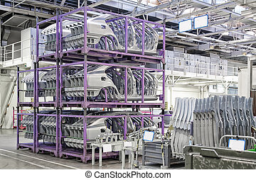 spare parts in a car factory - spare car parts in a factory