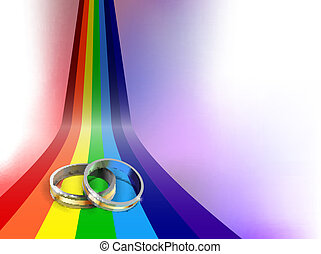 wedding rings - vector wedding rings on rainbow path, eps10...