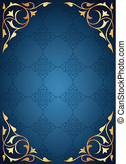 Golden frames on blue background