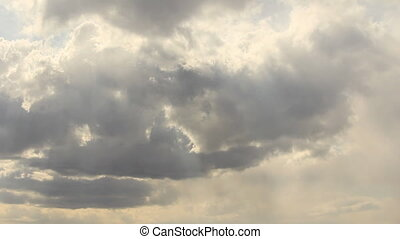 Cloudscape in sun light - Sunlit overcast sky clouds...