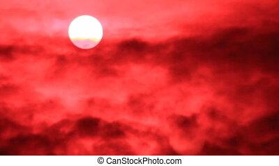Sun on red sky