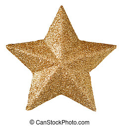 Gold christmas star isolated on white