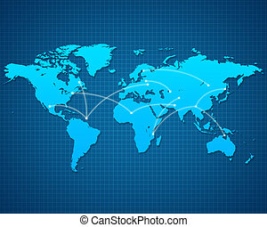 World Map destination - World Map with destinations on blue...