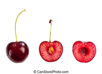 Whole and half cut cherry isolated on white