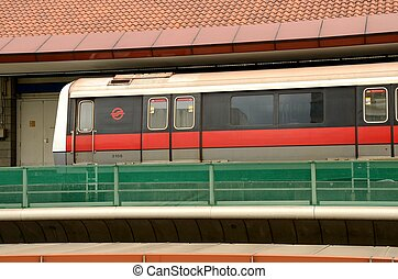Singapore MRT train at staion - A subway train of...