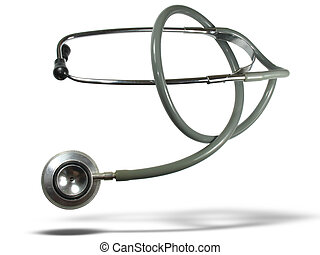 Medical stethoscope with shadow isolated over white...