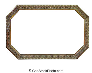 Old antique octagonal wooden picture frame over white background