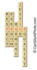 Peace and harmony - Juggle of words with focus on the word...