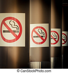 Mobile photography toned row of No Smoking signs - Moble...