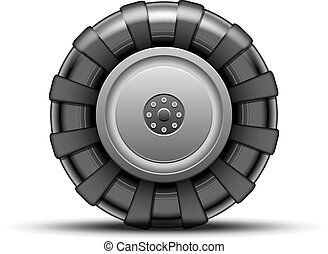 Big wheel - Big black wheel of tractor isolated on white...