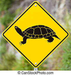Attention Turtles Crossing animal road sign - Animal Road...