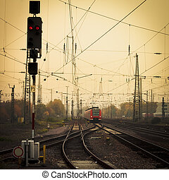 Mobile photography tone red train on railway track - Moble...