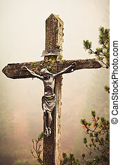 Mobile photography toned crucifixed Christ outdoor - Moble...