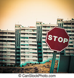 Mobile photography toned stop sign and condo units - Moble...