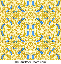Seamless pattern Art Nouveau - Gold and blue Seamless...