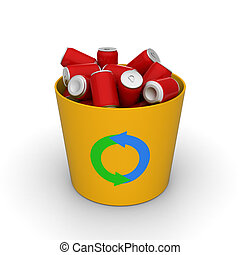 Cans in a recycle bin - 3D model of red cans in a yellow...