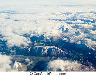Aerial view of snowcapped mountains in BC Canada - Aerial...