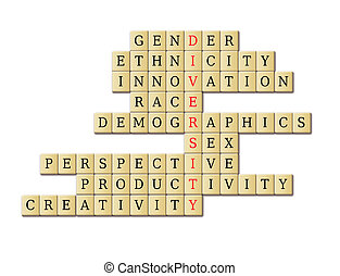 Diversity crossword puzzle in a white background abstract....