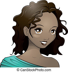 dark-skinned girl - Illustration of a teenage girl