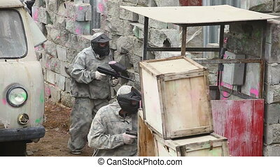 Paintball. - Paintball squad on position.