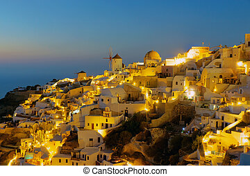 Oia on Santorini island at night - The beautiful Oia on...