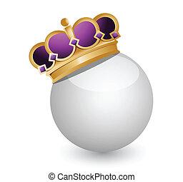 Golden Crown on White Ball illustration design over white